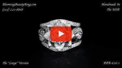 The Large Lotus Swan Double Band Flower Ring Set – bbr626-1 laying down version 2 video