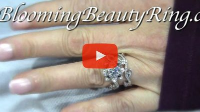 The Lotus Swan 1ct. Diamond Engagement Flower Ring – bbr630set on the finger video