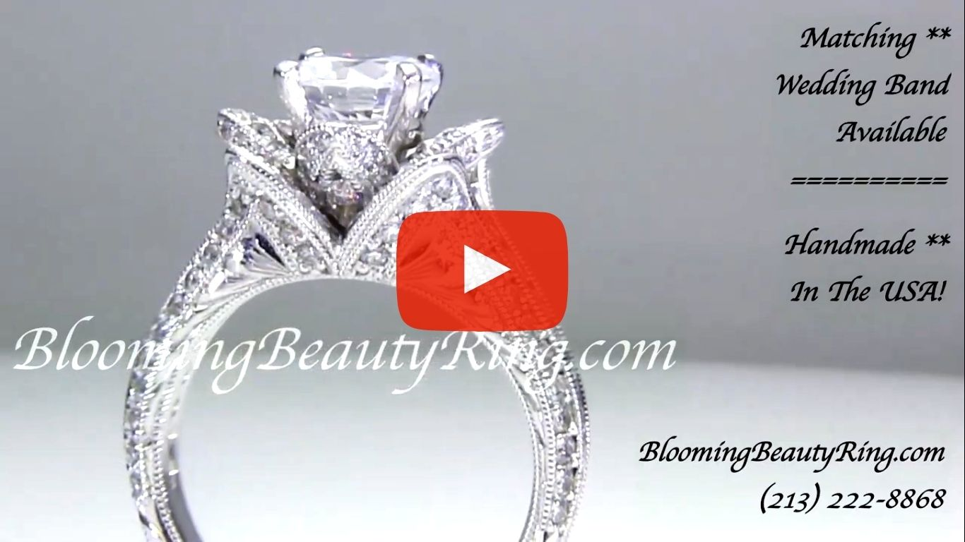 1.37 ctw. Small Hand Engraved Blooming Beauty Engagement Ring – bbr434en-s close standing up video