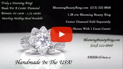 1.37 ctw. Small Hand Engraved Blooming Beauty Engagement Ring – bbr434en-s laying down video