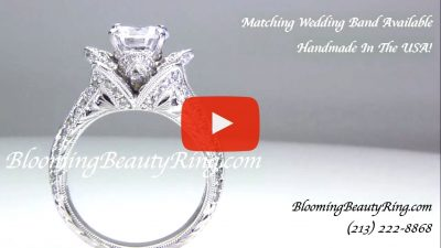 1.37 ctw. Small Hand Engraved Blooming Beauty Engagement Ring – bbr434en-s standing up video