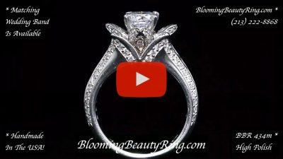 1.38 ctw. Original Small Blooming Beauty Flower Ring – bbr434m standing up video