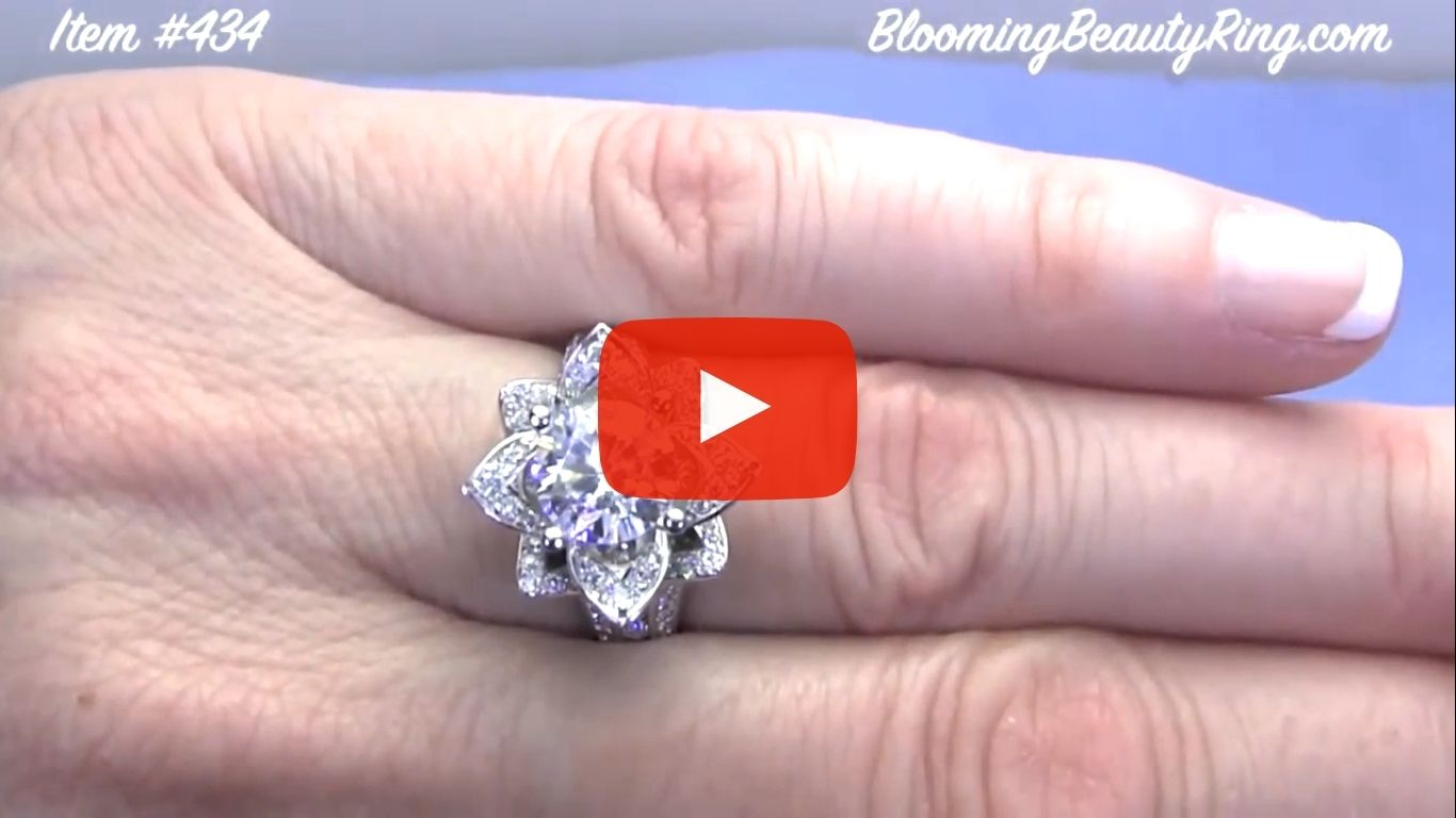 1.78 ctw. Original Large Blooming Beauty Flower Ring – bbr434 on the finger video