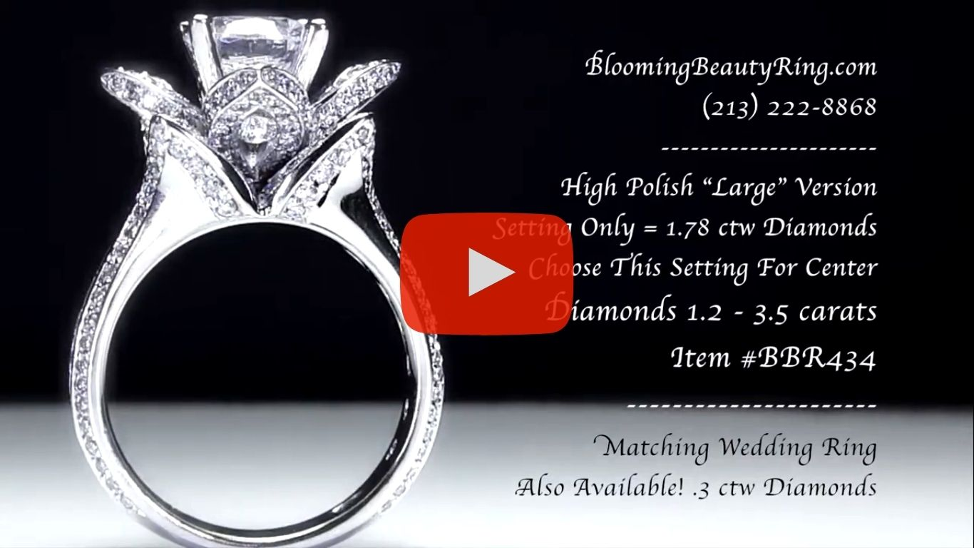 1.78 ctw. Original Large Blooming Beauty Flower Ring – bbr434 standing up video