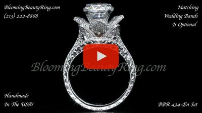 2.08 ctw. Large Hand Engraved Blooming Beauty Wedding Ring Set – bbr434en-set standing up video version 2