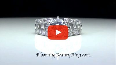 6 Prong Tiffany Style Engagement Ring with Alternating Round and Baguette Diamonds – bbr304 laying down video