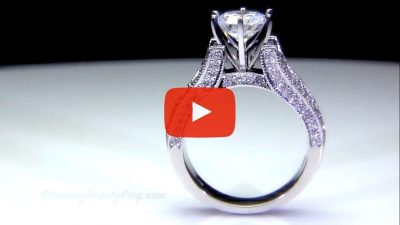 6 Prong Tiffany Style Engagement Ring with Alternating Round and Baguette Diamonds – bbr304 standing up video