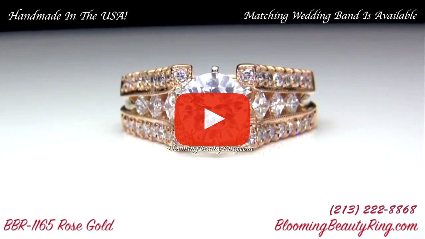 Diamonds On The Tips Modified 6 Prong Cathedral Split Band Princess Cut Ring – bbr1165 rose gold video