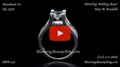 Wide Band Floating Diamond with Invisible Channel Set Princess Cut Diamonds – bbr159 standing up video