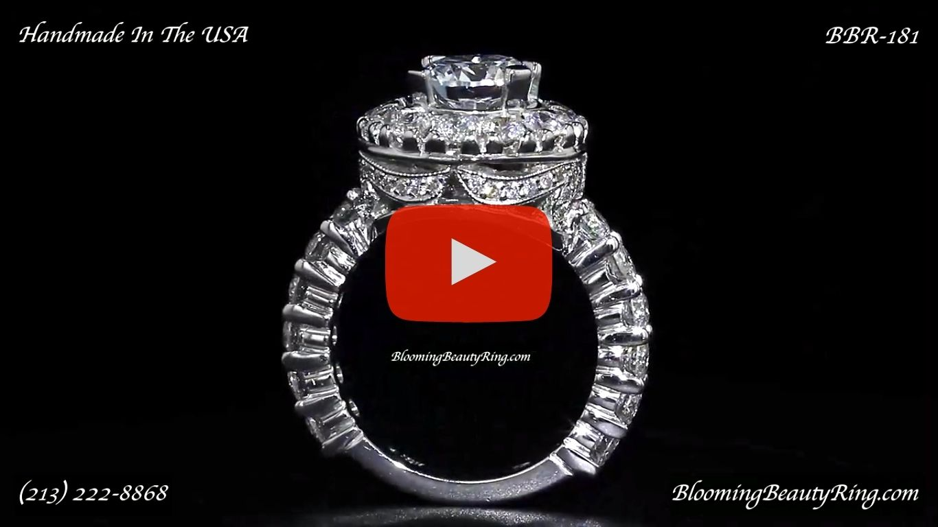 Diamonds and Flowing Lace Engagement Ring – bbr181 standing up video