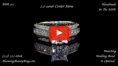 BBR 411 Handmade In The USA Diamond Engagement Ring With Princess Cut Diamo laying down video