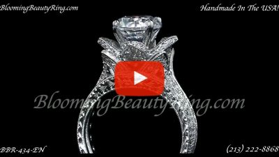 2.08 ctw. Large Hand Engraved Blooming Beauty Wedding Ring Set – bbr434en-set standing up video