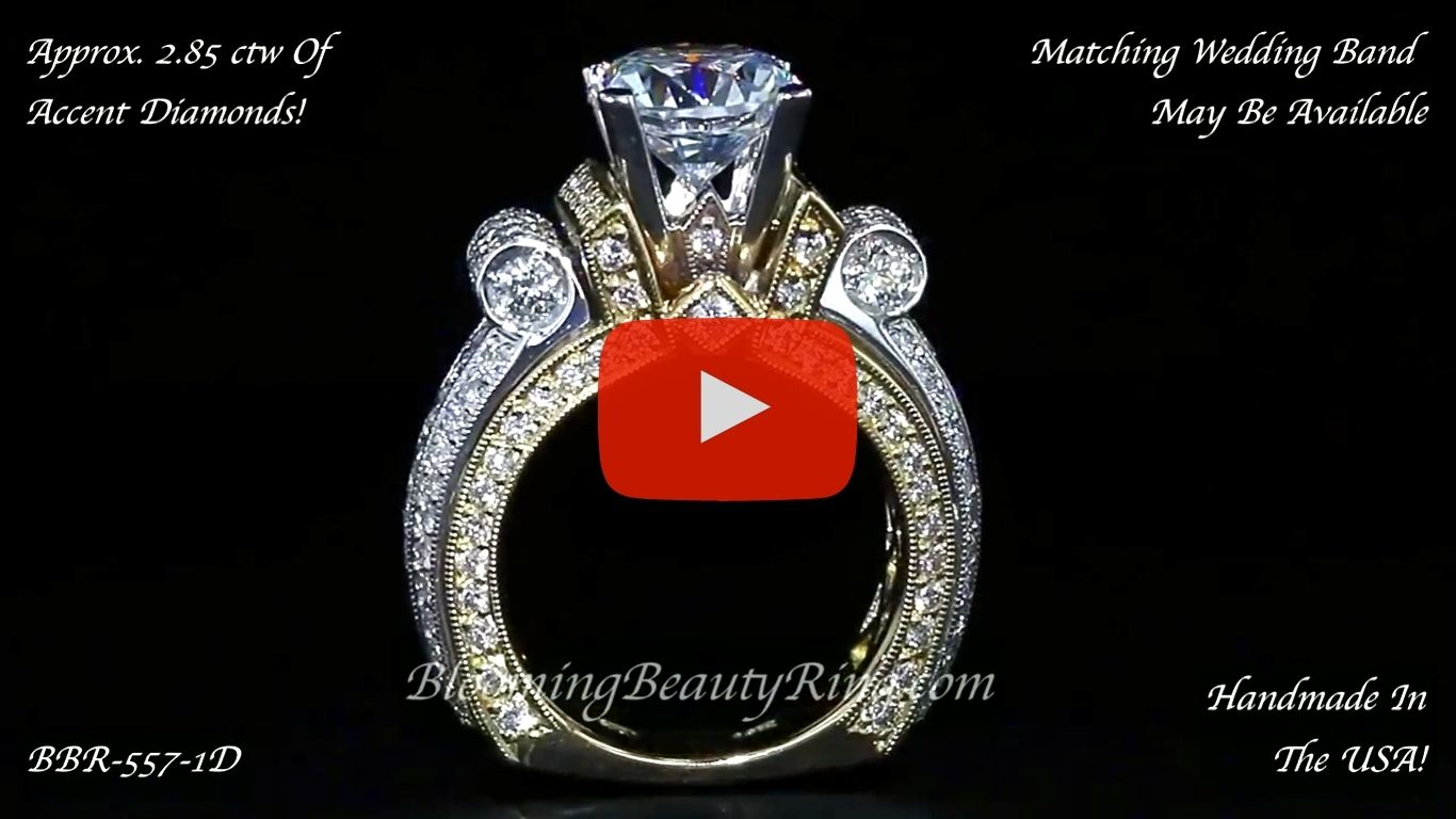 Two Toned Scrolling Tiffany Round Diamond Engagement Ring – bbr557-1 Standing Up Video