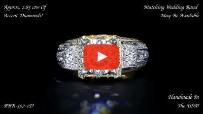 Two Toned Scrollin Tiffany Round Diamond Engagement Ring – bbr557-1 laying down video