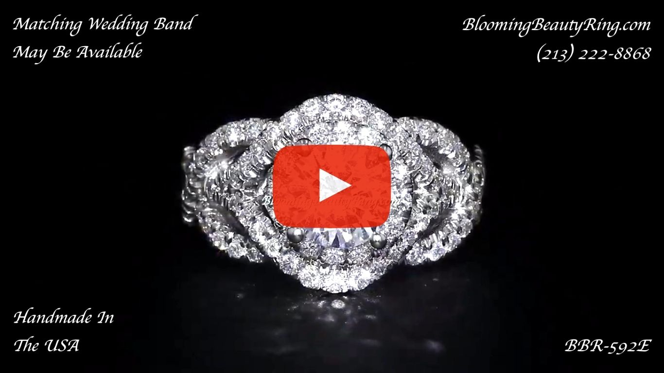 Double Twist Halo Diamond Engagement Ring – bbr592 laying down video
