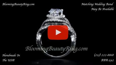 Double Twist Halo Diamond Engagement Ring – bbr592 standing up video