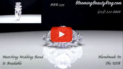 6 Prong Beautiful Crossover Pave Set Designer Engagement Ring – bbr595 laying down video