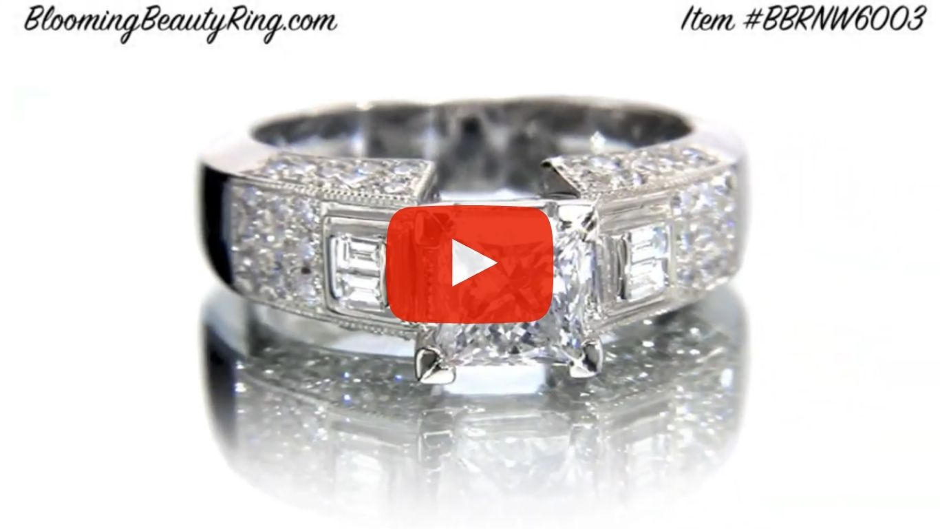 Pave Wide Diamond Band with Intricate Milgrain Edging and Design – bbrnw6003 laying down video