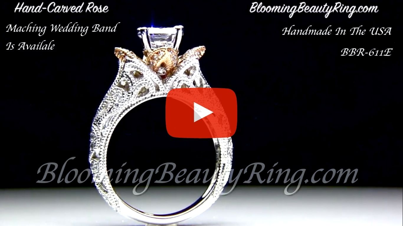 Art Carved Blooming Rose Flower Engagement Ring with Rose Gold Petals – bbr611 standing up video