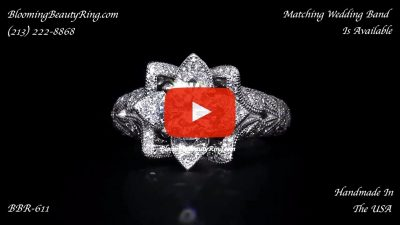 Art Carved Blooming Rose Flower Engagement Ring with Rose Gold Petals – bbr611 laying down video