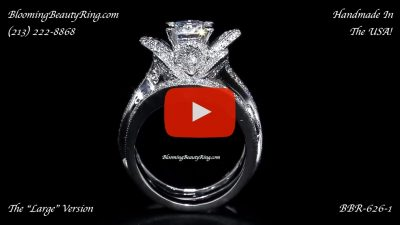 The Large Lotus Swan Double Band Flower Ring Set – bbr626-1 standing up video