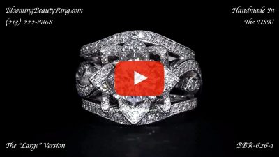 The Large Lotus Swan Double Band Flower Ring Set – bbr626-1 laying down video