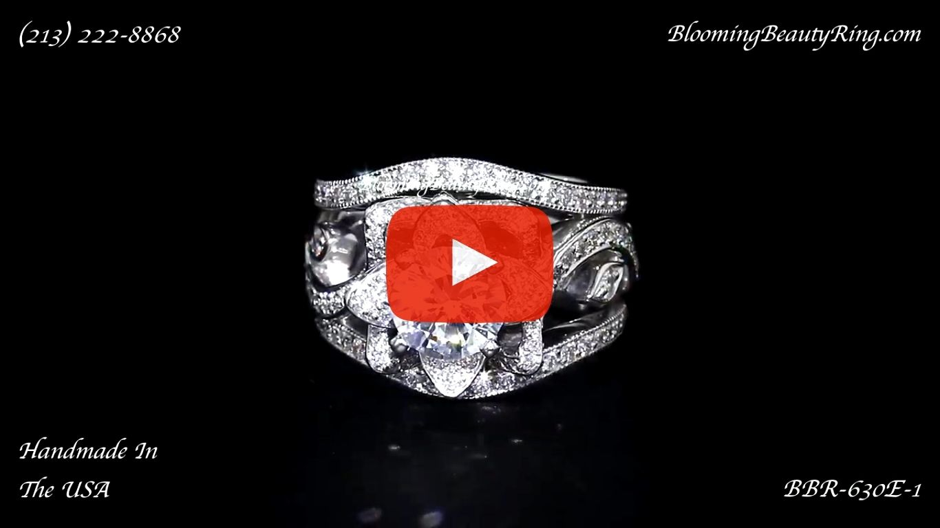 The Original Lotus Swan Double Band Flower Ring Set – bbr630-1 laying down video