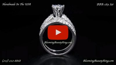 Jewelers 3 Rows of Diamonds Pave Set Across the Entire Top Side of Both Custom Made Bands – bbr189e-189b standing up video