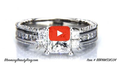 Princess Channel Set Beaded Milgrain Hand Carved Diamond Engagement Ring – bbrnw591034 laying down video