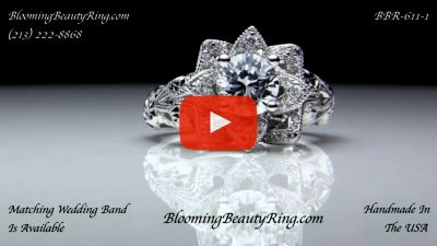 Diamond Embossed Blooming Rose Engagement Ring with Etched Carvings – bbr611-1 laying down video