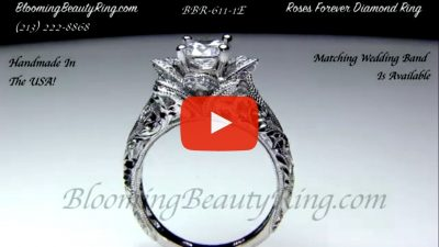 Diamond Embossed Blooming Rose Engagement Ring With Etched Carvings Bbr611 1 Unique Engagement Rings For Women By Blooming Beauty Jewelry