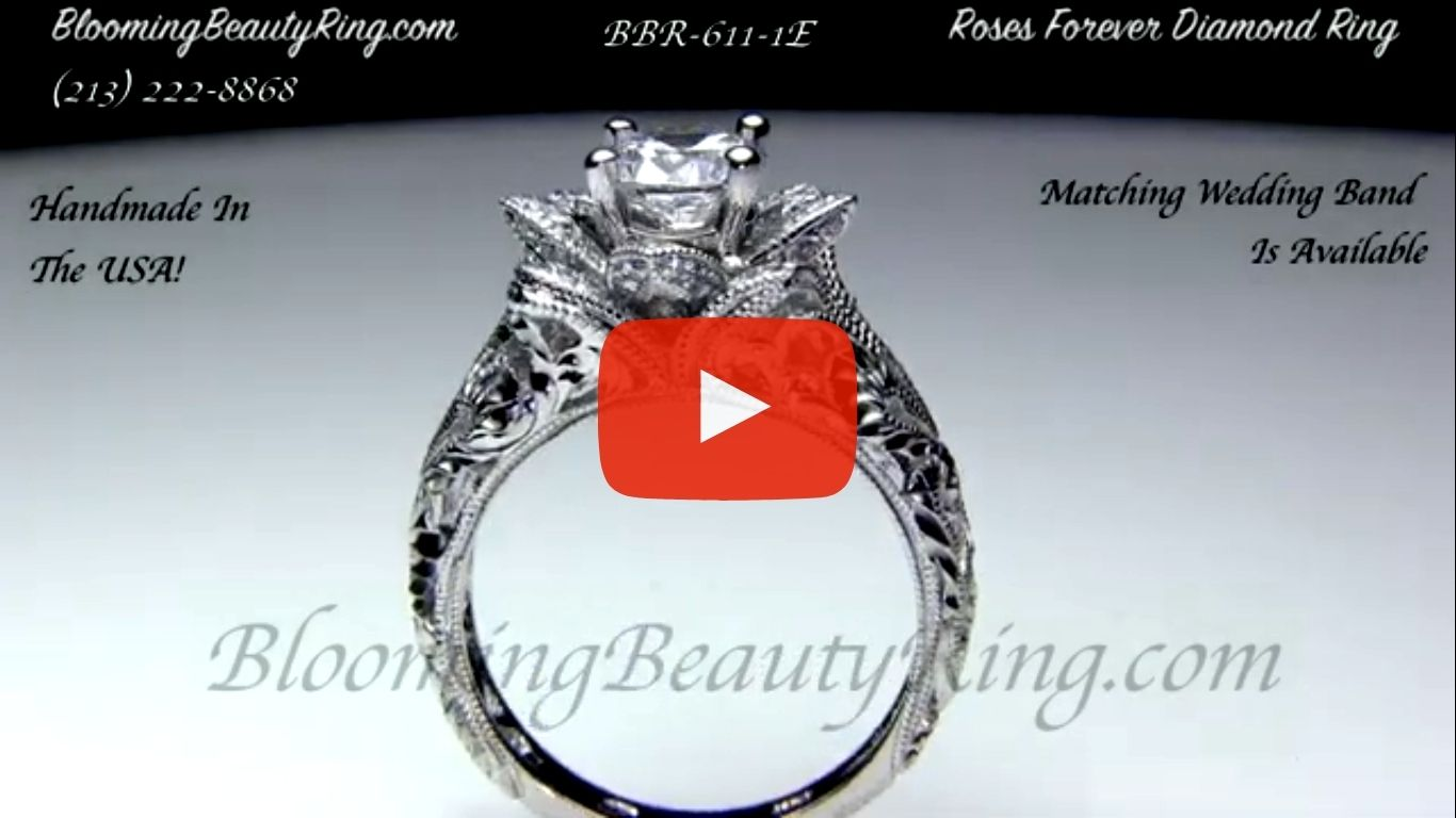 Diamond Embossed Blooming Rose Engagement Ring with Etched Carvings – bbr611-1 standing up video