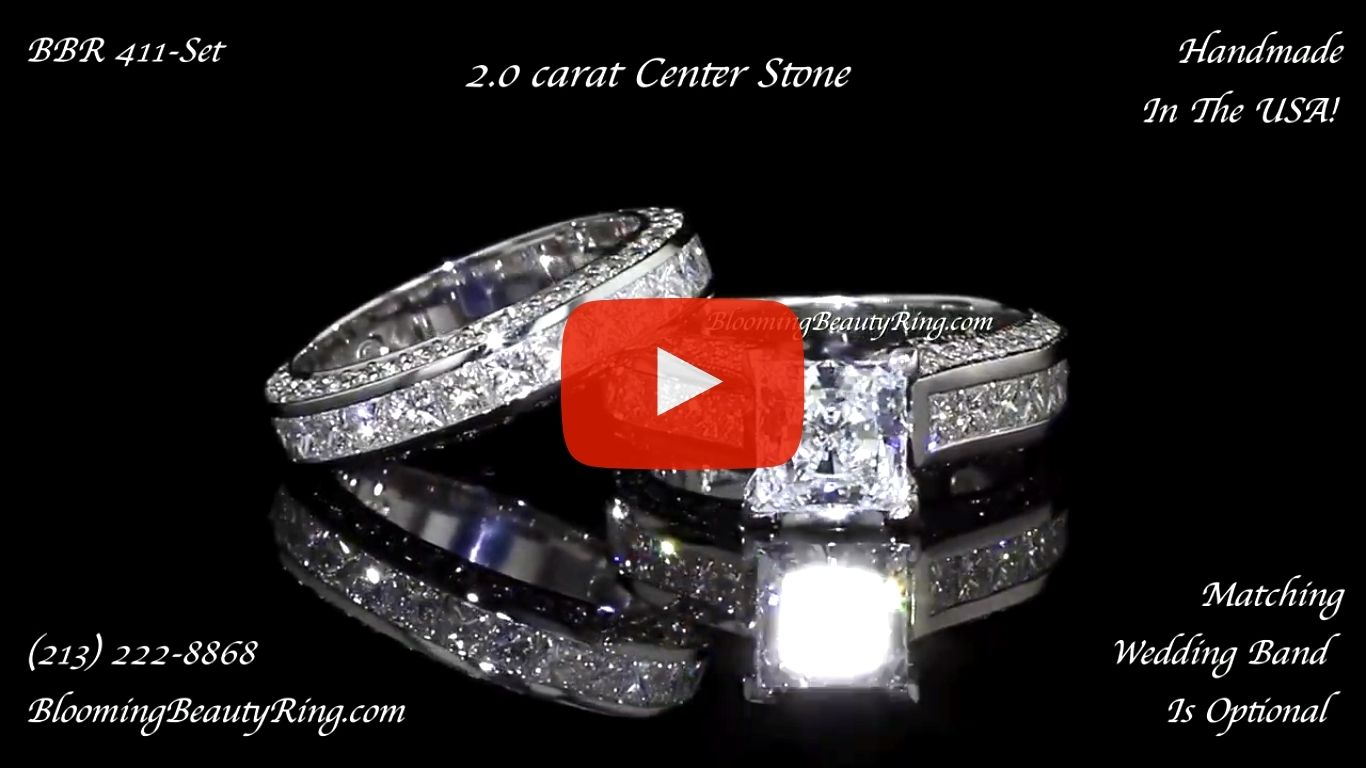 Jewelers Impressive Princess Cut Engagement Rings with Well Over 3 Carats of Diamonds (3.68 ctw) – bbr411-411b laying down video