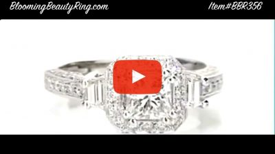 Octagonal Pave Styled 8 Pronged Halo Diamond Engagement Ring – bbr356 laying down video