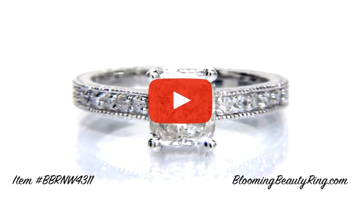 Radiant Diamond Ring with Low Mounting and Custom Engraving – bbr4311 laying down video