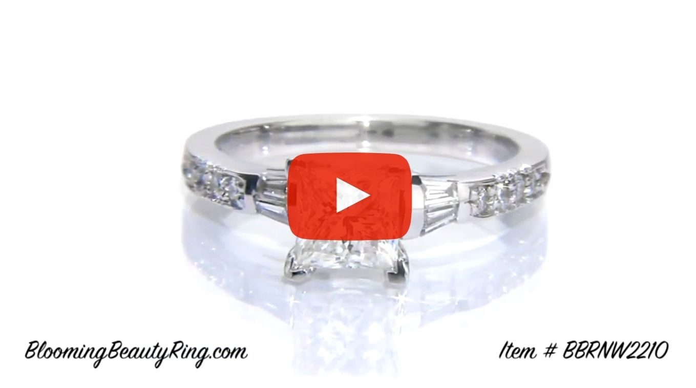 Round Pave and Channel Set Baguette Diamond Engagement Ring laying down video