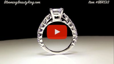Shared Prong Antique Style Engagement Ring with Large Graduated Diamonds – bbr593 Standing up video