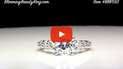 Shared Prong Antique Style Engagement Ring with Large Graduated Diamonds – bbr593 laying down video