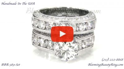 Spectacular 4.20 ctw. Top Quality Round Diamond Engagement Ring Set – bbr389set laying down video