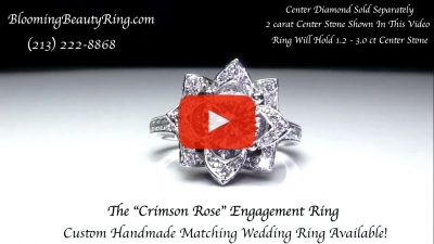 The Large Crimson Rose Flower Diamond Engagement Ring – bbr607 video