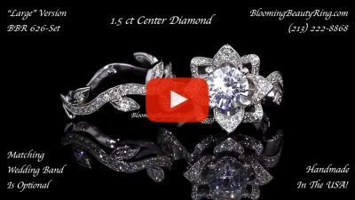 The Large Lotus Leafy 1.50 ctw. Diamond Engagement Flower Ring Set – bbr626set laying down video