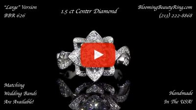 The Large Lotus Swan 1.48 ct. Diamond Engagement Flower Ring – bbr626 laying down video