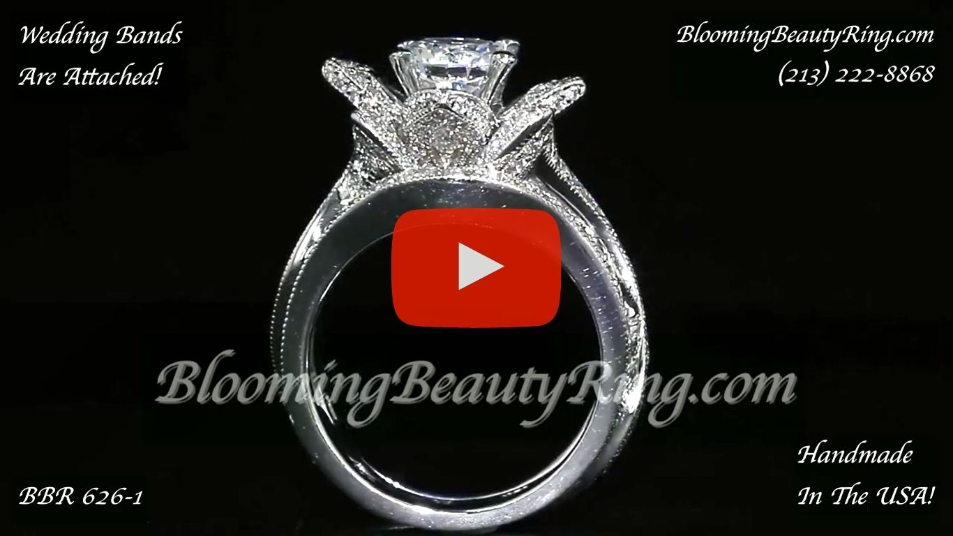 The Large Lotus Swan Double Band Flower Ring Set – bbr626-1 close up standing up video