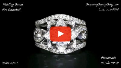The Original Lotus Swan Double Band Flower Ring Set – bbr630-1 close up laying down video