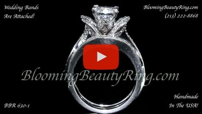 The Original Lotus Swan Double Band Flower Ring Set – bbr630-1 close up standing up video
