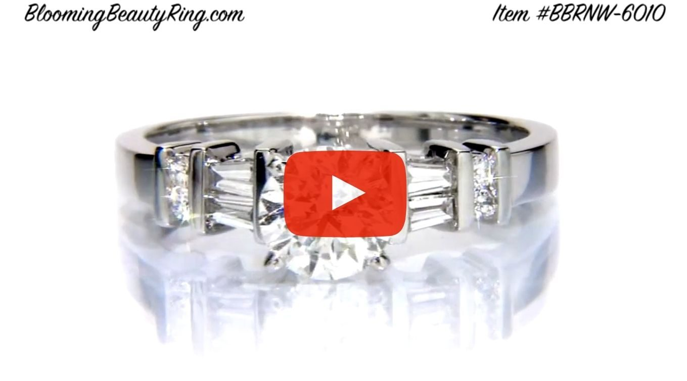 Tiffany Style Engagement Ring with Tapered Baguette and Small Round Side Accent Diamonds – bbrnw6010 laying down video