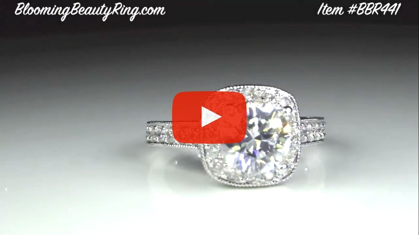 Unique Style Halo Engagement Ring with Ultra Diamonds High Quality All Over Video bbr411 laying down video