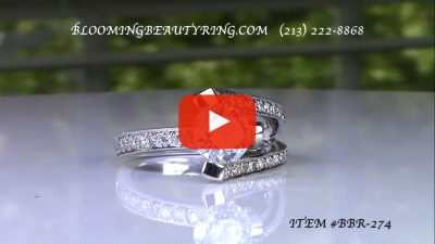 3 Sided Tension Set Split Shank Pave Diamond Engagement Ring – bbr274 laying down video