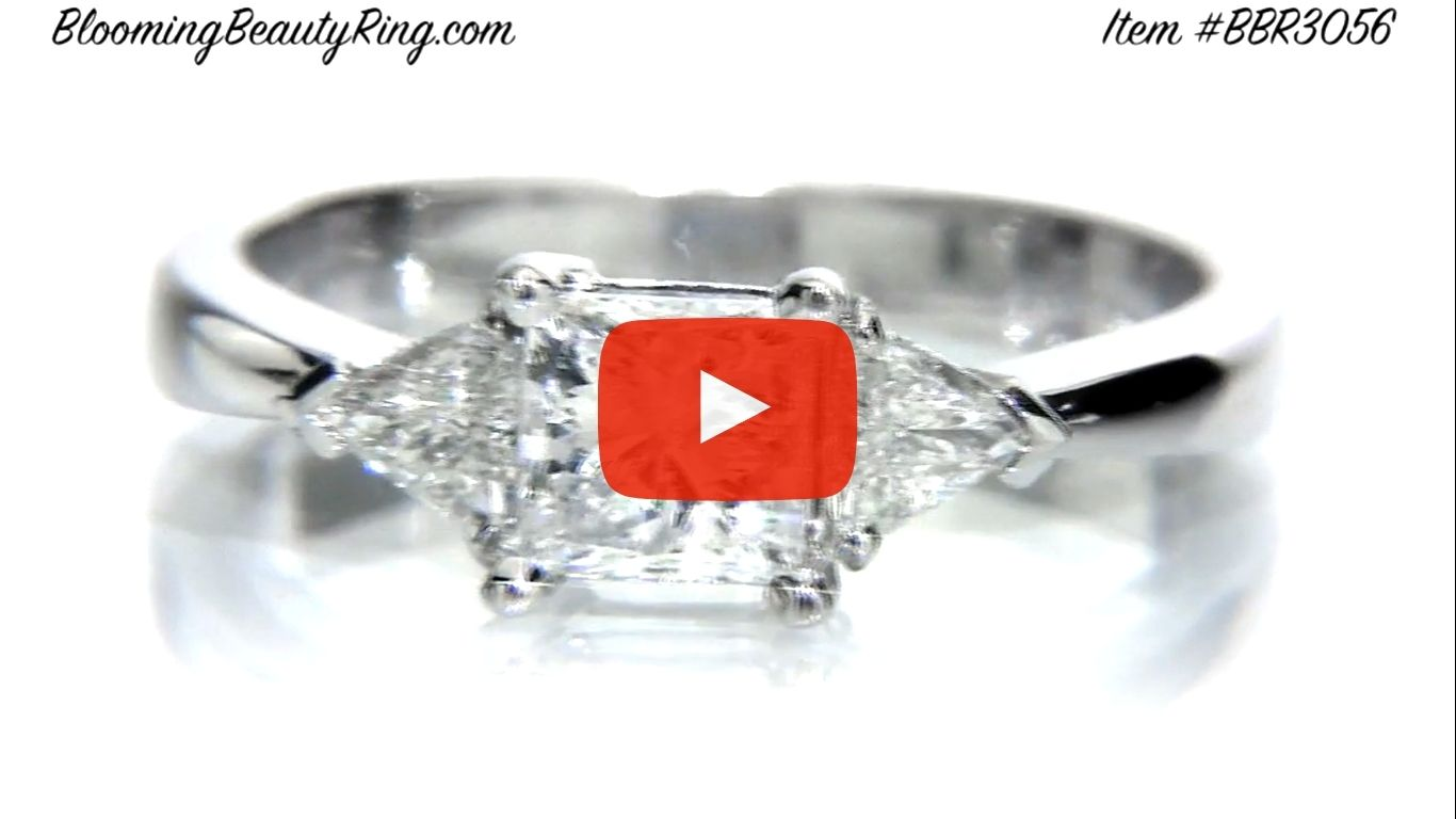 3 stone Beveled Ridge Trillion Cut Tapered Top Diamond Engagement Ring – bbr3056 laying down video