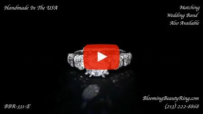 Tension Set Large Diamond Curved 8 Prong Engagement Ring – bbr331e laying down video